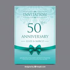 Wedding Anniversary Card In Realistic Style Vector Free Download
