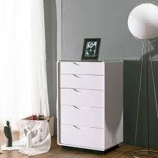 Maestro Tallboy Dresser  White High Gloss W Black Glass Top - Bedroom tallboy furniture