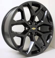 New 22 inch Chevy Black Snowflake Wheels Rims Silverado Tahoe ...