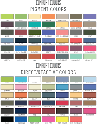 Comfort Colors T Shirts Color Chart Comfort Colors Color Chart College Comfort Colors