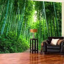 3D Bamboo Brove Mural Nature Green ...