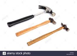 types of hammers. stock photo - three different types of hammer against a white background hammers