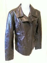 details about las ashwood of london dark brown biker style leather jacket size 14 16