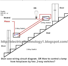 staircase wiring circuit diagram electrical technolgy Light Switch Wiring Diagram 2 staircase wiring circuit diagram, or how to control a lamp from two different places by two ,2 way switches? light switch wiring diagrams