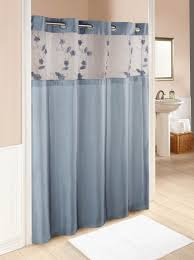 blue and white fabric shower curtains