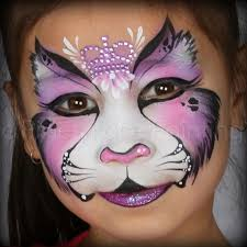pink crowned kitty face paint