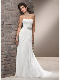 Sheath Column Strapless Court Train Ivory Chiffon Beach Wedding