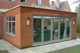 glass roof and 5 door bi folding doors