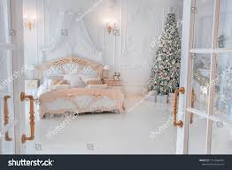 Christmas Bright White Lights Bright White Bedroom Interior Christmas New Stock Photo