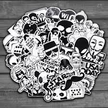 50 Pz Casuale In Bianco E Nero Adesivo Graffiti Punk Jdm Fresco