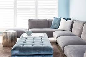 gray velvet sectional. Plain Sectional Gray Velvet Sectional With Blue Velvet Tufted Ottoman In I