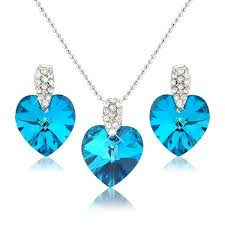 ocean blue heart necklace and earring set swarovski elements crystals silver tone gift present for her cp118y6m3of