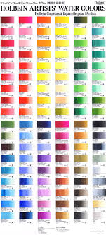 Holbein Artists Watercolour Colour Chart Watercolor