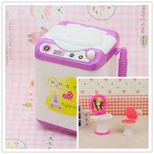 cute doll washing machine mini washer dollhouse furniture accessory bathroom set toilet and sink for barbie barbie doll house furniture sets