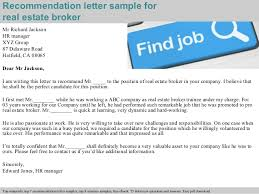 How To Write A Recommendation Letter For A Realtor Letter Of Recommendation For Real Estate Agent