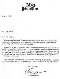 Letter Greetings Classy This Is A Letter Robin Williams Wrote To The School Of His Child Co