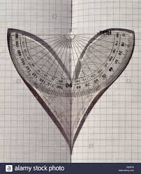 Love Maths A Protractor In Sunlight On Folded Graph Paper The