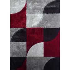 stunning dark grey area rug hand tufted polyester red with light silver to gray size