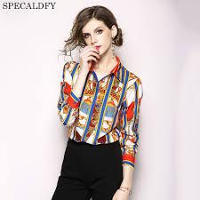 Female Office Shirt Designs 2018 New Women Vintage Long Sleeve Shirt Blouses Runway