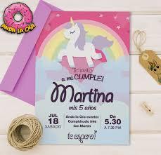Tarjetas Invitaciones Cumpleaños Unicornios 5 00 En Mercado Libre
