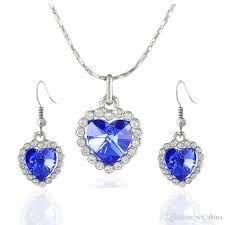 sapphire ruby jewelry sets charms crystal pendant necklace heart of the ocean jewelry set for women rhinestone earrings titanic jewelry canada 2019 from