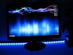 under desk led lighting. Combining An IKEA Frosted Glass Desk With What Appears To Be Dioder LED Strip Lights Added Underneath, Creating Icy-cool Effect For A PC Setup Under Led Lighting
