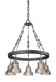 old silver menlo park 5 light chandelier with glass insulator shades f3135 elite fixtures