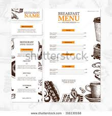 breakfast menu template breakfast menu template cafe restaurant identity stock vector