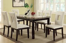 modern white faux leather 7 pc dining set table chair