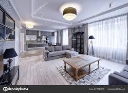 Moderne Design Interieur Van Woonkamer Een Luxe Appartement Grijs
