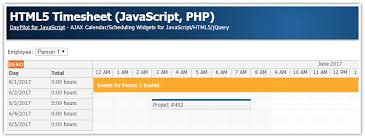 timesheet schedule html5 timesheet javascript php daypilot code