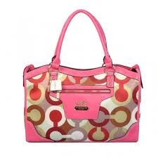 Coach Fashion Signature Large Pink Satchels BSY