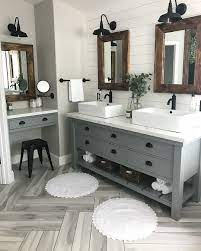 Modern Farmhouse Master Bath Renovation Obsessed With Our Vanity Spaces Farmhouse Master Bathroom Bathroom Remodel Master Bath Renovation