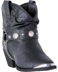 zoomed image dingo women s black leather concho strap slouch booties pointed toe black hi
