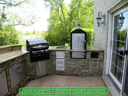 outdoor kitchen with electric smoker designs