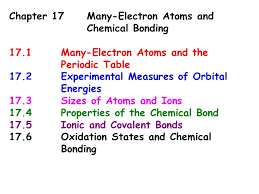 Chapter 17Many-Electron Atoms and Chemical Bonding 17.1Many ...