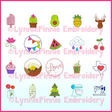 Lynnie Pinnie Embroidery Designs Mini Icons Set 1 20 Machine Embroidery Design Files 1 5 And