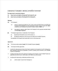 confidentiality agreement template sample confidentiality agreement
