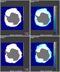 antarctic ice sheet growing arctic temperatures falling and ice caps growing collective evolution