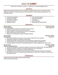 Doorman Resume Custom Security Guard Resume Objective Zromtk