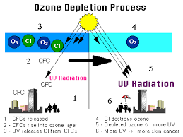 kids corner what is ozone depletion recently chlorofluorocarbons cfcs were used a lot in industry and elsewhere to keep things cold and to make foam and soaps