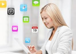 virtual office tools. Woman Working Remotely Virtual Office Tools