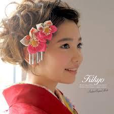 髪飾り つまみ細工 ピンクマゼンタ 桔梗 花 和柄 びら飾り コーム レトロ