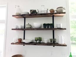 reclaimed wood floating kitchen shelves 2