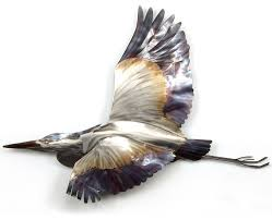 coastal home decor blue heron flying