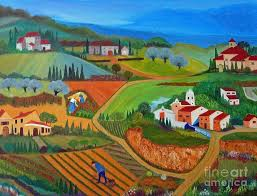 landscape painting tuscan countryside by anke wheeler