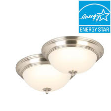13 in brushed nickel led twin pack flushmount