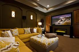 media room lighting fixtures. Sconces Lighting Fixtures For Family Room And High Ceiling Light Also L Shaped Yellow Sofa With Square Covered Table Wall Mounted Fireplace Flat Media T