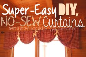 Diy No Sew Curtains The Resourceful Gals Super Easy No Sew Diy Curtains