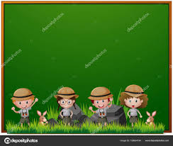 Board Template With Kids In Safari Outfit Stock Vector Brgfx